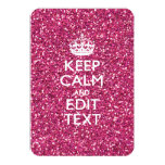 Pink Glitter Personalized KEEP CALM AND Your Text Invitation