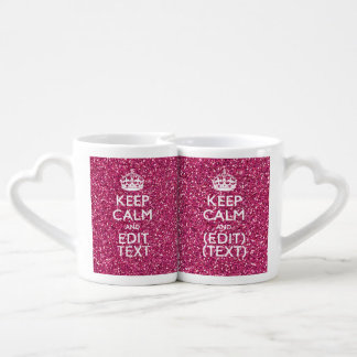 Pink Glitter Personalized KEEP CALM AND Your Text Lovers Mugs