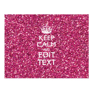 Pink Glitter Personalized KEEP CALM AND Your Text Postcard