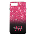 Pink Glitter, Personalized With Name And Monogram Iphone 8 Plus/7 Plus Case at Zazzle