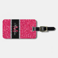Pink Glitter, Personalized with Name & Monogram Bag Tag