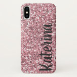 Pink Glitter Personalized With Your Name. Iphone X Case at Zazzle