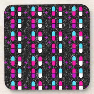 pink glitter pills drink coaster