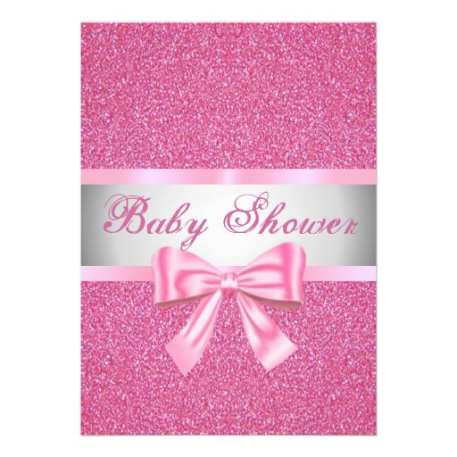 pink glitter pink bow baby shower invitation 5 x 7 invitation car