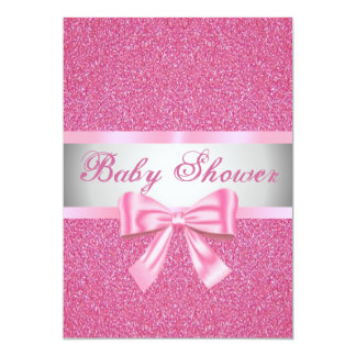 "Pink Glitter Pink Bow Baby Shower Invitation 5"" X 7"" Invitation Card"