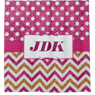 Pink Glitter Polka Dots Chevron Custom Initials Shower Curtain