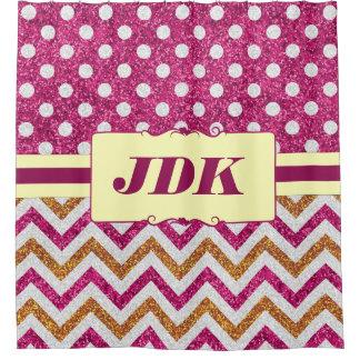 Pink Glitter Polka Dots Chevron Custom Initials Shower Curtain