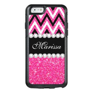Pink Glitter Print B&W Chevron Otterbox iPhone 6/6