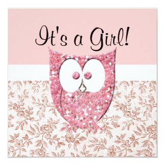 Pink Glitter (printed) Baby Owl Shower Invitation