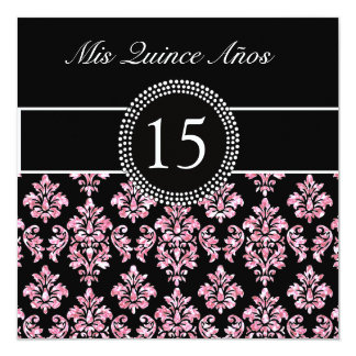 PINK GLITTER PRINTED, BLACK DAMASK QUINCEANERA PERSONALIZED INVITES
