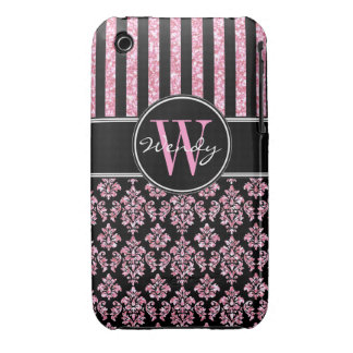 Pink Glitter Printed Black Damask Your Name iPhone 3 Cover