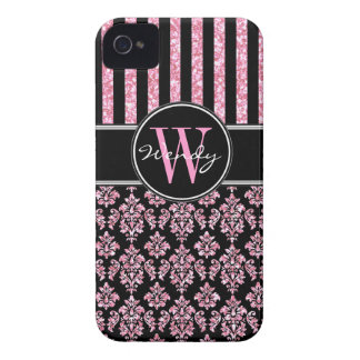 Pink Glitter Printed Black Damask Your Name iPhone 4 Case