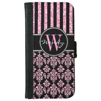 Pink Glitter Printed Black Damask Your Name Wallet Phone Case For iPhone 6/6s