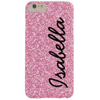 PINK GLITTER PRINTED PERSONALIZED BARELY THERE iPhone 6 PLUS CASE