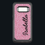 "PINK GLITTER PRINTED PERSONALIZED OtterBox COMMUTER SAMSUNG GALAXY S8 CASE<br><div class=""desc"">Cute, fun, girly, baby pink glitter effect printed design with black text. You can with your name, your text, your monogram, or your initial to have it monogrammed in a bold script font. Elke Clarke© A stylish, fashion trendy, chic design for her. For other glitter colors for the background please...</div>"
