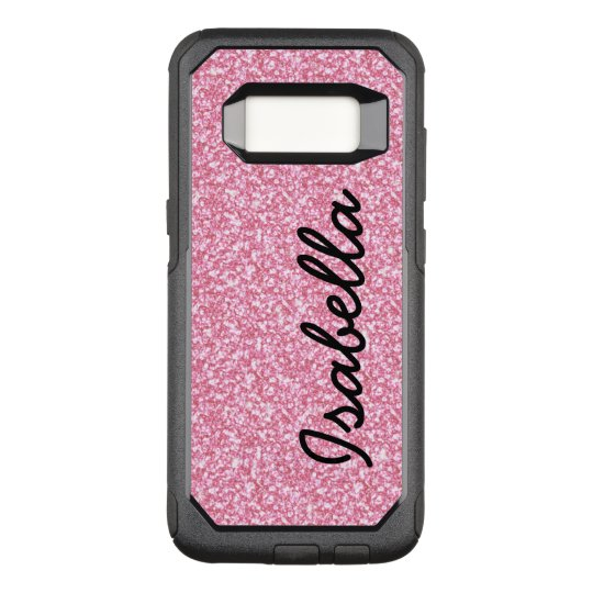 finest selection 3f215 6367f PINK GLITTER PRINTED PERSONALIZED OtterBox COMMUTER SAMSUNG GALAXY S8 CASE