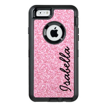 Pink Glitter Printed Personalized Otterbox Defender Iphone Case by epclarke at Zazzle