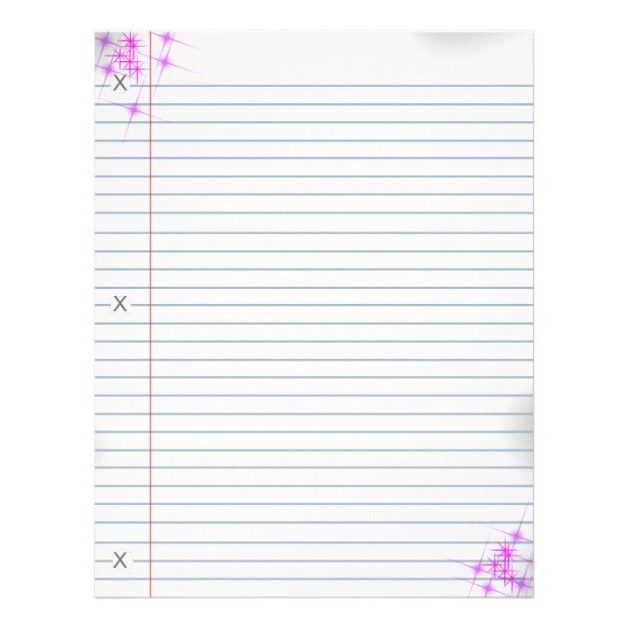 Pink Glitter Punk Notebook Paper Letterhead
