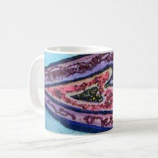 Pink Glitter Purple Hearts Custom Coffee Mug
