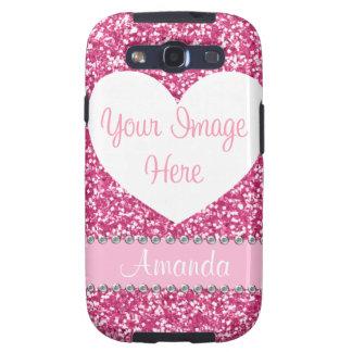 Pink Glitter Rhinestone Heart Photo Galaxy Case Galaxy S3 Cases