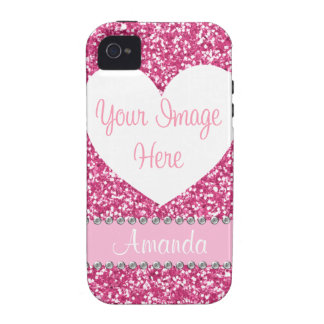 Pink Glitter Rhinestone Heart Photo iPhone Case Vibe iPhone 4 Case
