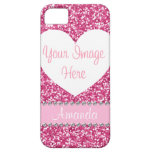 Pink Glitter Rhinestone Heart Photo iPhone Case iPhone 5 Covers
