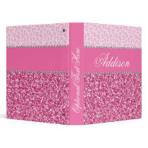 Pink Glitter Rhinestone Leopard Bling Binder