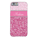 Pink Glitter Rhinestone Leopard BLING Case Barely There iPhone 6 Case