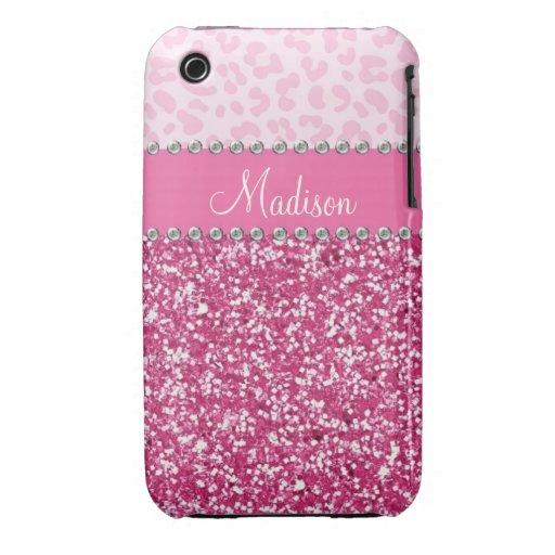 Pink Glitter Rhinestone Leopard BLING Case iPhone 3 Case