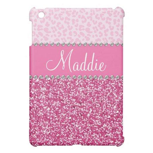 Pink Glitter Rhinestone Leopard BLING Case iPad iPad Mini Case