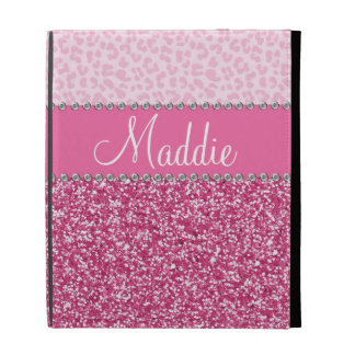 Pink Glitter Rhinestone Leopard BLING iPad Case