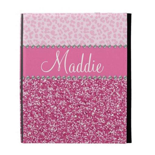 Pink glitter rhinestone leopard bling ipad case zazzle