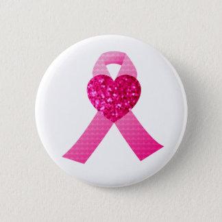 Pink Glitter Ribbon Breast Cancer Awareness Custom Pinback Button