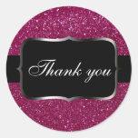 Pink Glitter Round Stickers