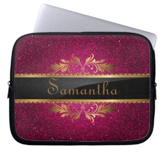 Pink Glitter Sequin Disco Glitz Protective Case Laptop Sleeve