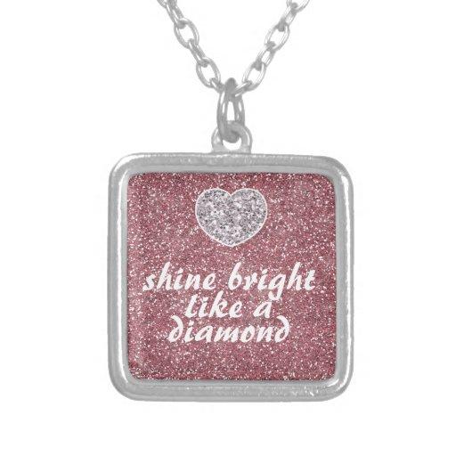 Pink Glitter Shine Bright Diamond Personalized Necklace