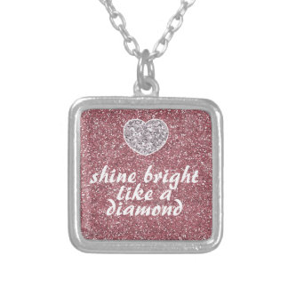 Pink Glitter Shine Bright Diamond Square Pendant Necklace