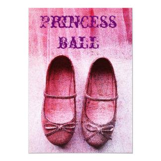 Pink glitter shoes princess ball birthday invite
