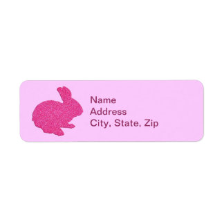 Pink Glitter Silhouette Bunny Address Labels