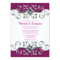 Pink Glitter Silver Gemstone Wedding Invitation