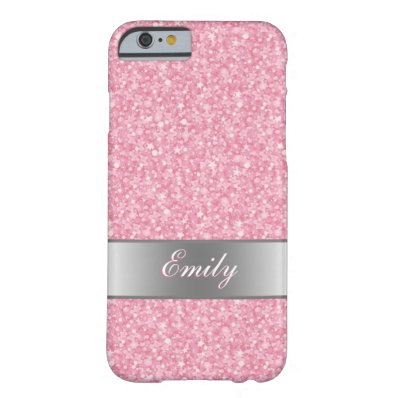 Pink Glitter Silver Gradient Accents Monogram Barely There iPhone 6 Case