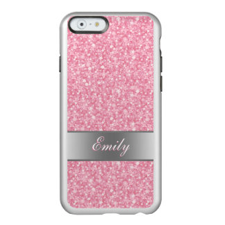 Pink Glitter Silver Gradient Accents Monogram Incipio Feather Shine iPhone 6 Case