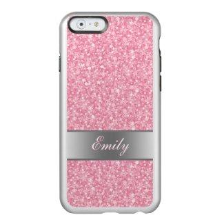 Pink Glitter Silver Gradient Accents Monogram
