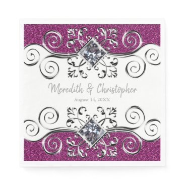 Pink Glitter Silver Swirls Jewel Wedding Paper Napkin