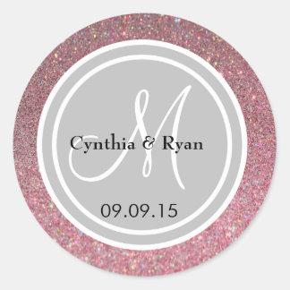 Pink Glitter & Silver Wedding Monogram Seal