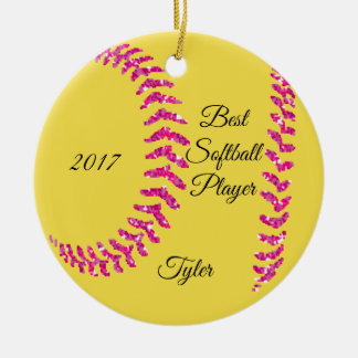 Pink Glitter Softball Stiches Ceramic Ornament