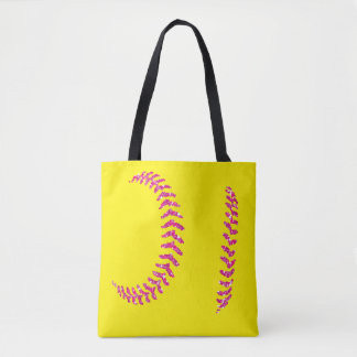 Pink Glitter Softball Stitches Tote Bag
