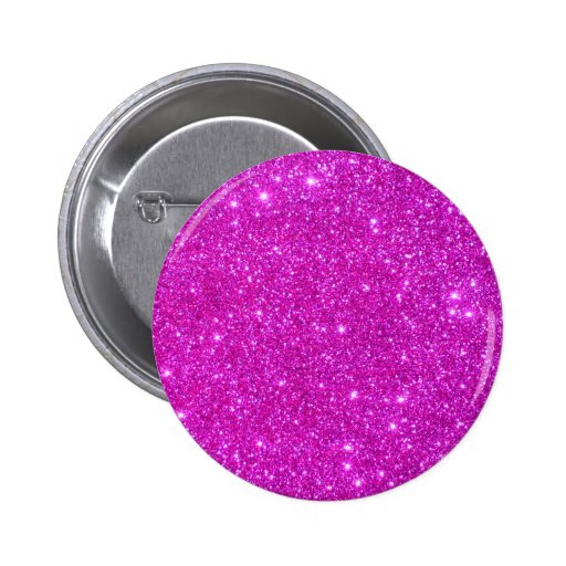 Pink Glitter Sparkle Customizable Design Pinback Button