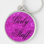 Pink Glitter Sparkle Customizable Design Keychain