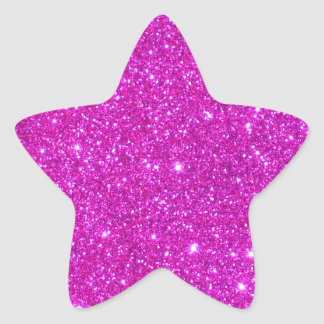 Pink Glitter Sparkle Customizable Design Star Sticker
